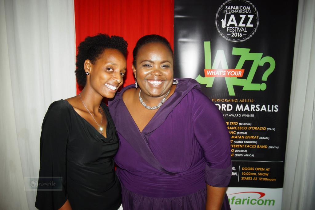 Nairobi orchestra Violinist Bernadette shares a smile with Jazz Vocalist kavutha