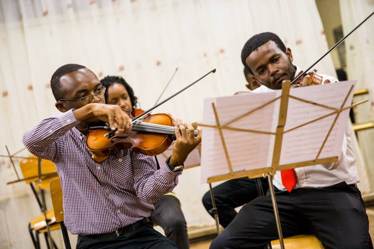 The Virtuoso Zeze Ensemble handl;ing matters at the event.
