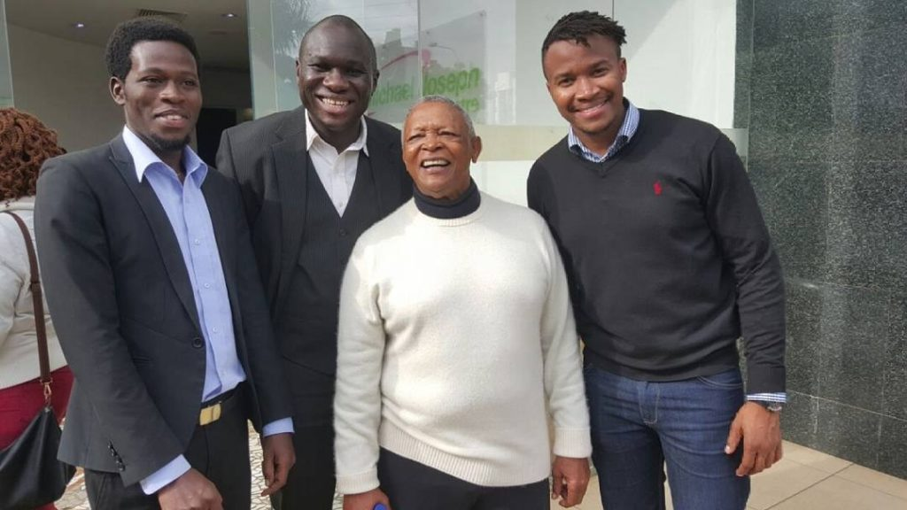 Hugh Masekela and members of Nairobi Horns Project