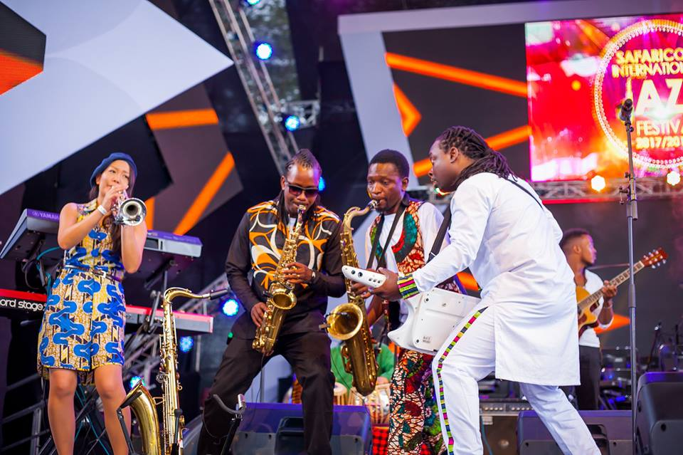 four Kenyan jazz musicians, from left we have Emi Kitasako on trumpet, Noah Saha on Sax, Juma Tutu on Sax, and James Jozee on keytar