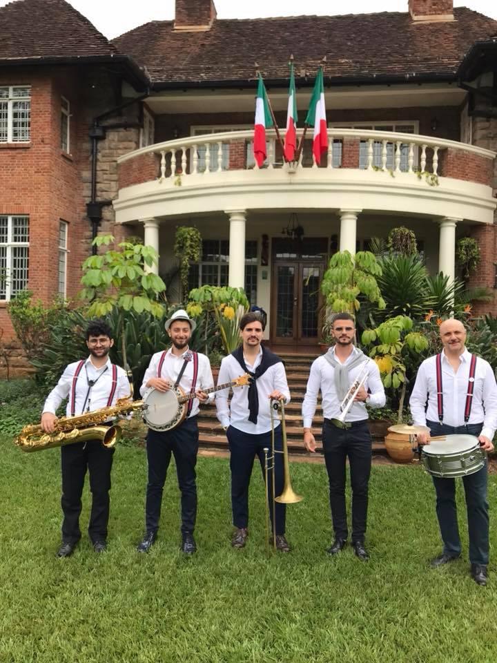 Mustacchi Bros outside the Italian Ambassador's residence