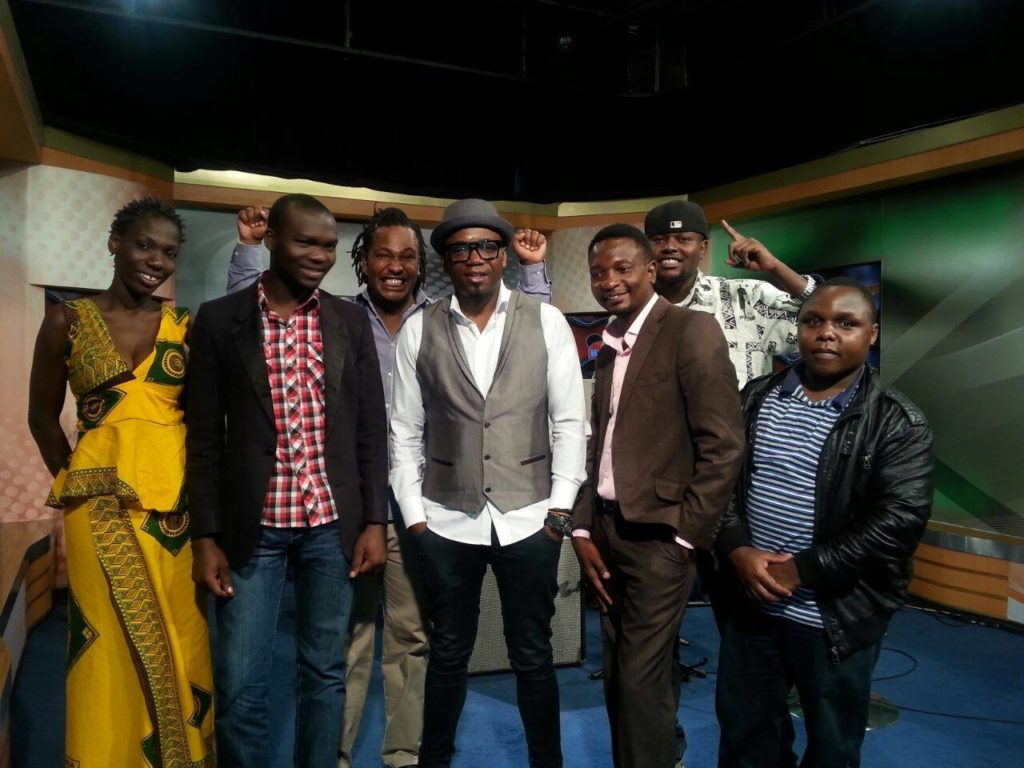 Juma Tutu and Swahili Jazz band with Jimmy Dludlu after a media interview in Nairobi