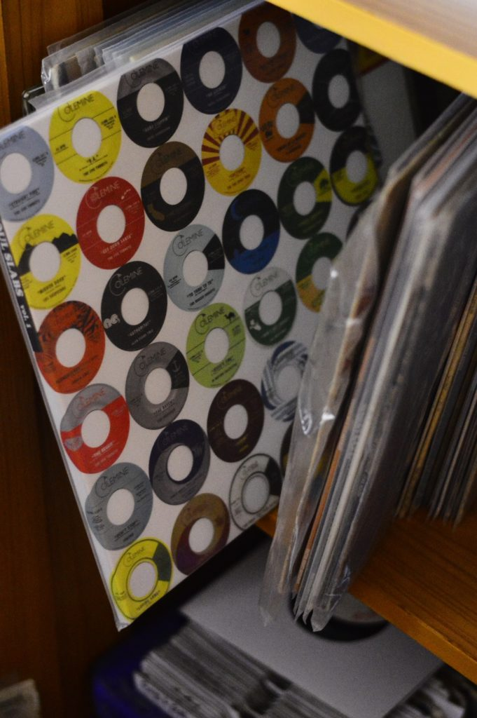 Jimmy's Colorful Stacks of records