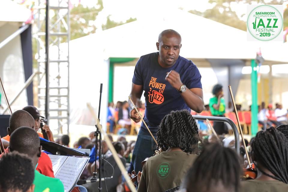 Levi Wataka conducting at Safaricom Jazz Festival