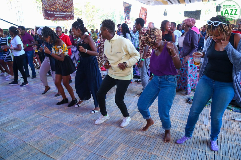 People dancing along to the music at Safaricom Jazz