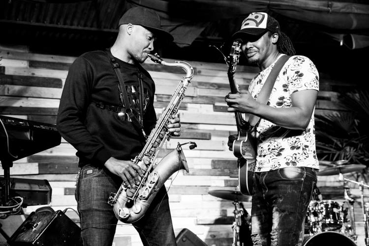 Jack Muguna and Mokua Rabai (sax) at a gig at J's fresh Bar and Kitchen
